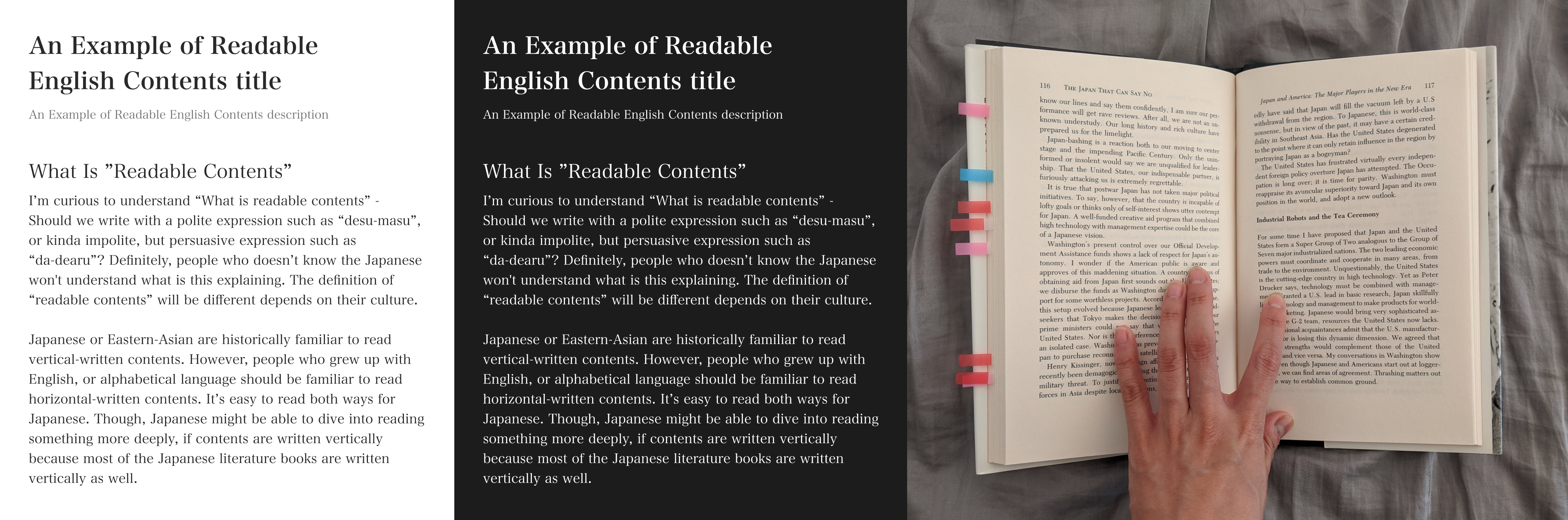 Examples of readable article - English